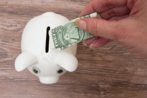dollar in piggy bank