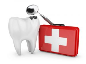 tooth with first aid kit