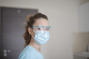 Dentist in Medford wearing personal protection.
